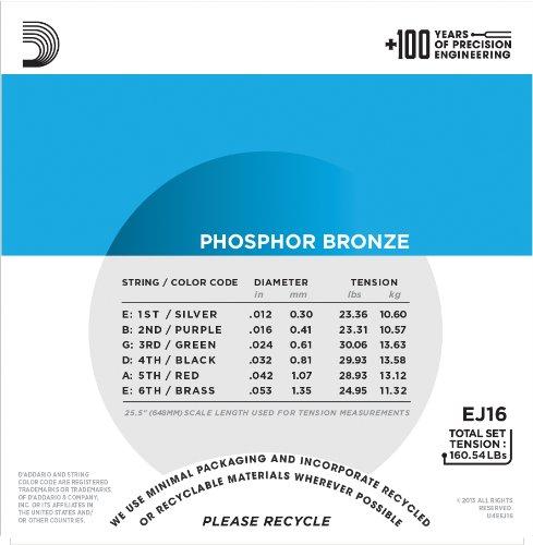 D'Addario EJ16 Phosphor Bronze Light (.012-.053) Acoustic Guitar Strings