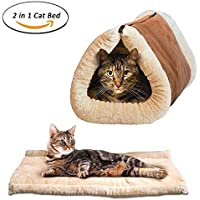 Dr Nezix 2 en 1 Tube Cat Mat y cama, Cat Sleeping Bag auto-calentamiento Kitty Sack beige, accesorios para mascotas