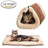 Dr Nezix® 2 in 1 Tube Cat Mat and Bed, Cat Sleeping Bag Self-Warming Kitty Sack Beige, Pet Accessories