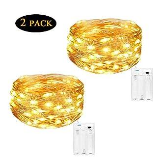 Cadena de Luces para Interiores y Exteriores 4 Metros, 40 LEDs Luces Micro de Hadas a Pilas de Alambre de Cobre Cuerdas para Decoración de Habitación, Pared de Fotos, Árbol de Navidad, Jardín