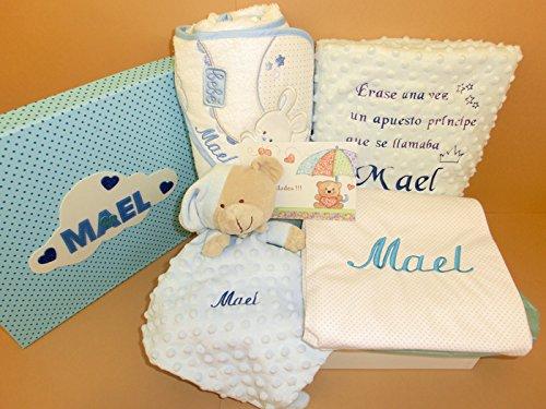 Set Regalo Bebé - Canastillas personalizadas para niño o niña, el regalo perfecto para recién nacido. Manta cuento, arrullo, doudou y capa de baño