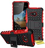 Microsoft Lumia 550 Handy Tasche, FoneExpert® Hülle Abdeckung Cover schutzhülle Tough Strong Rugged Shock Proof Heavy Duty Case für Microsoft Lumia 550 + Displayschutzfolie (Rot)