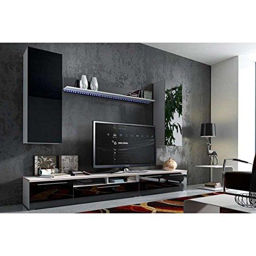 JUSThome Magnum Wohnwand Anbauwand Schrankwand Farbe: Weiß Matt / Schwarz Hochglanz