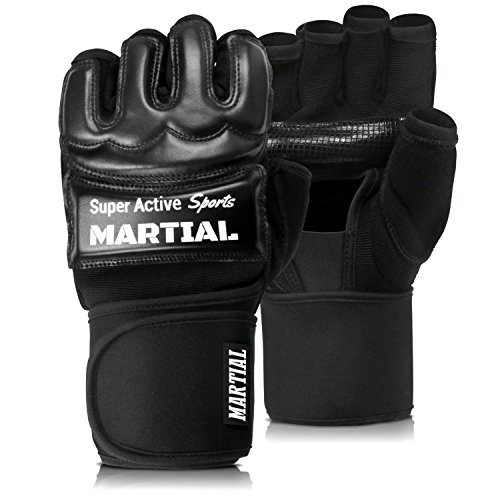 Super Active Sports Guanti Martial per MMA UFC, Allenamento Boxe e Sacco | Alta Stabilità al Polso | Imbottitura Leggera | Pollice Assorbi Sudore | Borsa Inclusa | Guantini x Light e Semi Contact