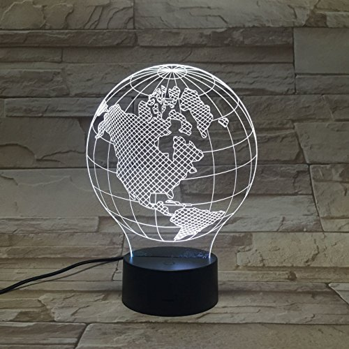 DE-3D Nachtlichter -Americas Globen 3D-Stereo Leuchten bunte LED Nachtlicht Farbverlauf Acryl Leuchttisch