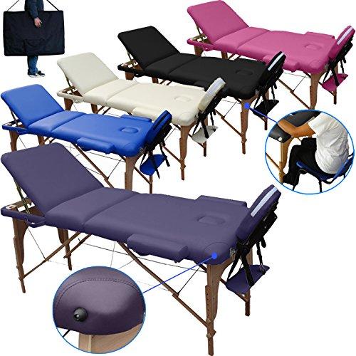 Lettino massaggio classico 3 zone legno 195x70 cm. lettini per da massaggi portatili pieghevoli - pannello reiki, angoli arrotondati e rinforzati - fisioterapia fisioterapista tattoo tatuaggi - lilla