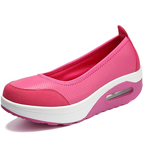 EnllerviiD Damen Sneaker PU Leder Schuhe Plateau Slip On Freizeitsschuhe Karminrot