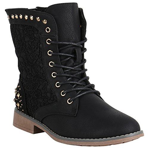 Damen Stiefeletten Worker Boots Spitze Stiefel Schuhe 149622 Schwarz Nieten 36 Flandell