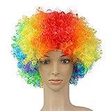 Berrose Explosiver Kopf Perücke bilden Abschlussball Ankleiden Ventilator Lustig Farbe Partei Disco lustige Afro Clown Haar Fußball Fan Erwachsener Maskerade