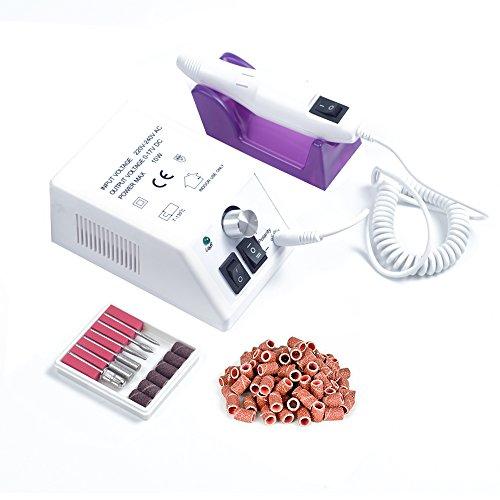 Pulidor de Uñas Aparatos eléctricos y accesorios para manicura y pedicura portátil torno para uñas con 100 bandas de lijado blanco