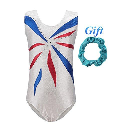Hougood Turnanzug für Mädchen Gymnastikanzug Turnanzug für Kinder Ärmellos Streifen Gymnastic Leotard Tanzen Bodysuit Alter 3-12 Jahre