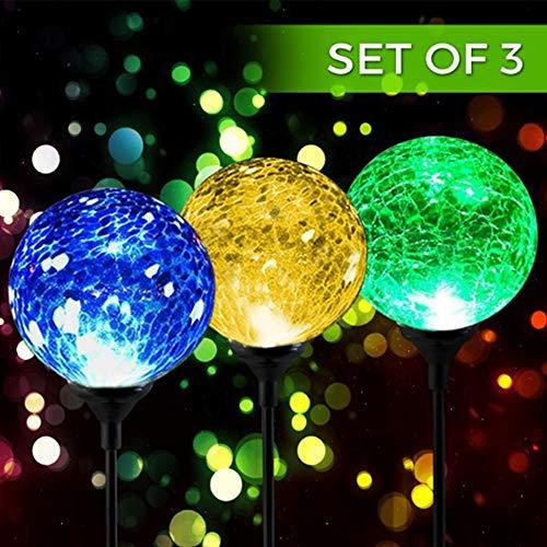 3 Licht Crackle (3Solar Crackle Ball Licht, LED Farbwechsel Solar Powered Crackle Glas Globe Ball Lichter Garten Edelstahl hängenden Kugel Lampe für Outdoor Garden Party)