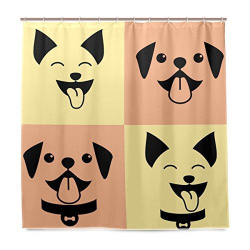 isaoa 3D Langlebig Duschvorhang für Badezimmer 100% Polyester wasserdicht Schimmelfest antibakteriell mit Vorhängen 12Haken, 180x 180cm Smiling Pitbull, Vorhang (Pitbull Dusche)