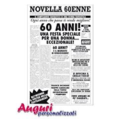 Idea Regalo - Biglietto auguri giornale compleanno 60 anni amica