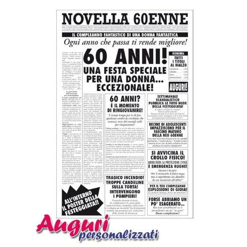 Conosciuto Biglietto auguri giornale compleanno 60 anni amica HG17