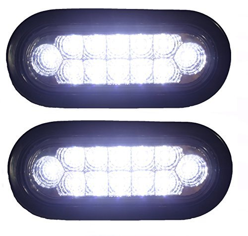 Pair Clear 6 Oval Sealed 12 DIODE LED BACK-UP REVERSE FOG WHITE Light Kit with Light, Grommet and Plug for Truck,Trailer (Turn, Stop, and Tail Light) Features chrome reflector inside the lens. STRONG LIGHT!!! by AutoSmart (Trailer Lense Light Tail)