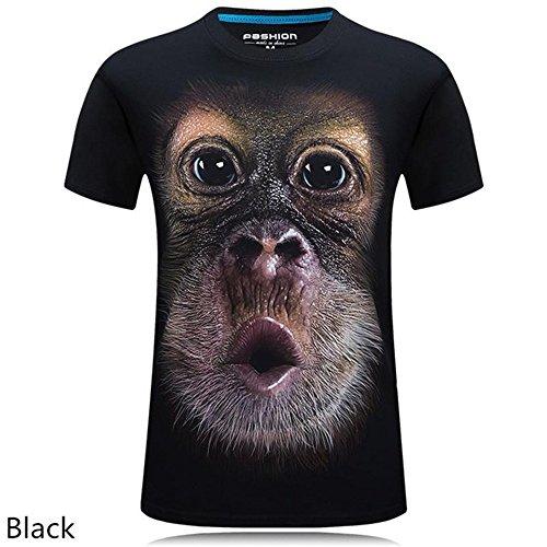 rqnpn5 2018 Sommer Herrenbekleidung Oansatz Kurzarm Tier T-Shirt Affe/Lion 3D Digital Gedrucktes T-Shirt Homme Große Größe 5XL, A, L (Kurzarm-tier)