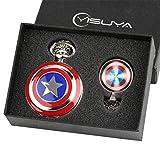Marvel Avengers - Reloj de Bolsillo con Escudo del Capitán América para niños y Hombres, con Colgante de cúpula de Cristal