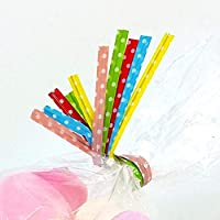 iuNWjvDU Convenient Cellophane Bags,50 Assorted Polka Dot Twist Ties For Cone Bags, Cello for Home