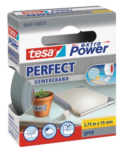 tesa Gewebeband, extra Power Perfect, grau, 2,75 m x 19 mm