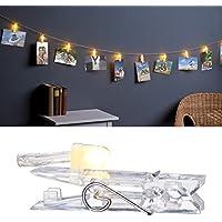 Lunartec Deko-Lichterkette: LED-Foto-Clips-Lichterkette mit 40 Klammern, batteriebetrieben, 10 m (Foto-Aufhänger)