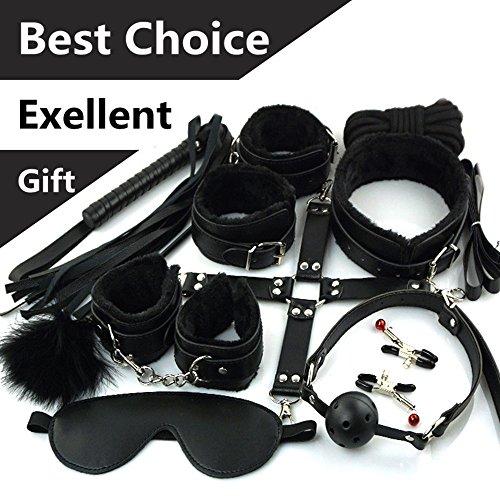 Sklaven Fesseln Sex Spielzeug für Liebespaar SM Liebhaber Frauen und Männer im Bett 10 Stücke in Schwarz BDSM Ladies 10 Pcs Black (Black)