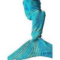iiniim Handcrafted maglia sirena coda coperta morbida Crochet Sacco a pelo per bambini ragazzi adulti, Cotone, blu, for Adults