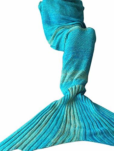iiniim Meerjungfrau Schwanz Gestrickte Decke Schlafsack Blanket Decke für Mädchen Damen Blau (Für Erwachsene)