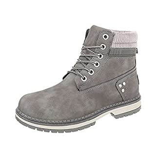 Schnürstiefeletten Damen-Schuhe Schnürstiefeletten Blockabsatz Schnürer Schnürsenkel Ital-Design Stiefeletten Grau, Gr 39, Bd901-Kb-