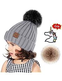 Tacobear Sombrero Bebé Niño Invierno Cálido Gorro Gorra con Pom de Punto Beanie Warm Cap Otoño Invierno Tejidos Sombreros para Niños Niñas