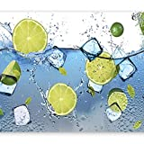 murando - Fototapete Küche 300x210 cm - Vlies Tapete - Moderne Wanddeko - Design Tapete - Wandtapete - Wand Dekoration - Obst Limone grün blau weiß Wasser Eis 10110908-1
