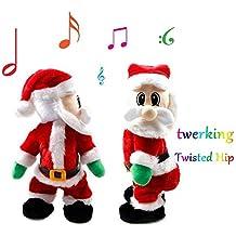 Uleade Twisted Hip Musical Automate Père Noël Santa Claus debout Figurine  Xmas décoration peluche
