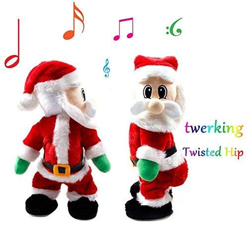 Uleade Twisted Hip Musical Automate Père Noël Santa Claus debout Figurine Xmas décoration peluche en peluche