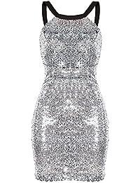 Swallowuk Frauen Sexy Halfter Kleid Gold und Silber (XL, Silber) 004d238220