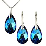 Ohrringe Anhänger mit Swarovski Kristallen von M3Crystal 925 Silber Rhodium Nickelfrei Kette 45cm, 22 mm Stein Bermuda Blue Mandel, geprüfte Qualität, Schmuck für Damen Modeschmuck