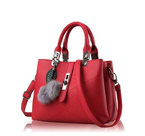 Ruiren Womens Shopper Shoulder Bag Packet Messenger Bag Ladies Handbag Borsa Femminile Borse per le Donne Rosso scuro