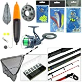 Sea Fishing Kit with Travel Rod & Reel. Includes Sea Fishing Rod, Reel, Net & Tackle. Everything You Need For Fishing From Beach, Pier or Rocks.
