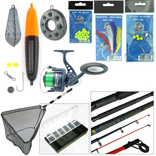 Sea Fishing Kit with Travel Rod & Reel. Includes Sea Fishing Rod, Reel, Net & Tackle For Fishing From Beach,...