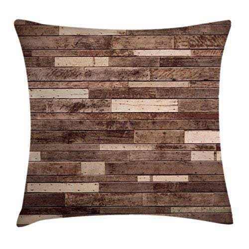 Baumwolle Kissen Panel (Shower Curtain Wooden Throw Pillow Cushion Cover, Wall Floor Textured Planks Panels Picture Art Print Grain Cottage Lodge Hardwood Pattern, Decorative Square Accent Pillow Case, Brown 18