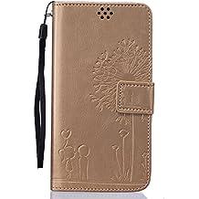 Beiuns Funda de PU piel para Xiaomi Redmi Note 3 / Note 3 Pro (5,5 pulgadas) Carcasa - TX519 oro Premier