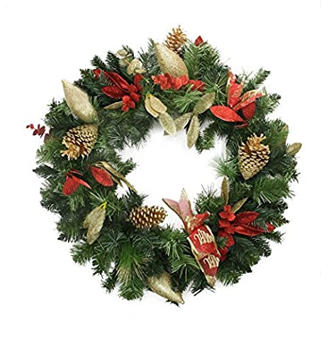 24 Pre-Decorated Gold Pine Cone, Eucalyptus and Red Bow Artificial Christmas Wreath - Unlit by Northlight