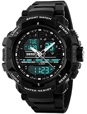 UNIQUEBELLA Armbanduhr 1164 Multifunktional LED Digitaluhr Freizeit Sportuhr Kinder Herren Jungen Silikon Wasserdicht...