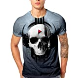 Herren Sommer-beiläufige Kurze Hülsen T-Shirt Weiches Jersey Rundhalsausschnitt Casual Top T-Stücke Tees mit Lustig Playing Skull-Druck(2XL)