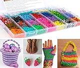 GadgetinBox™ - 4200 Stücke Regenbogen Webstuhl-Bänder stellten Box Gummi Armband Mit Merkblatt ,Set mit 100 Clips CRAFT KIT - Große Qualität Looms