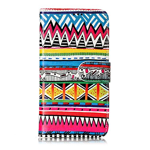 Samsung Galaxy S5 Hülle, Chreey Premium PU Leder Tasche Klapphülle 3D Muster Kreatives Design Brieftasche Handyhülle mit Magnet Kartenfächer Standfunktion Schutzhülle Bumper Etui [Bunt Stammes]