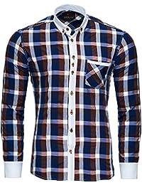 Reslad Herren Hemd Karo Muster Button-Down-Kragen Langarmhemd RS-7213