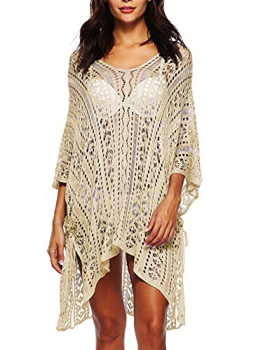 etrische Strandkleid Crochet Bikini Cover Up Stricken Strandponcho(AP) ()