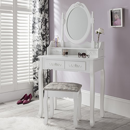 ... Vienna DR006 White Dressing Table Stool U0026 Mirror Set 5 Drawers Bedroom  Dresser   Low
