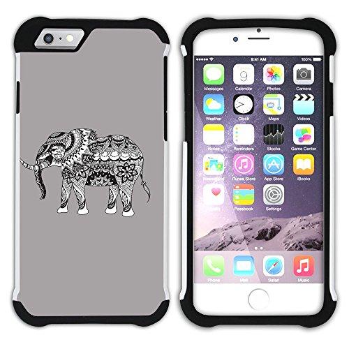 Graphic4You Stammes- Elefant (Wasserblau) Hart + Weiche Kratzfeste Hülle Case Schale Tasche Schutzhülle für Apple iPhone 6 Plus / 6S Plus Grau