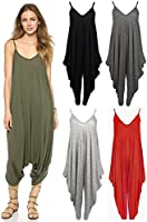 Red Olives New Womens Plain Ali Baba Harem Suit Cami Strappy Oversized All in One Jumpsuit